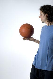Free Man Balancing Basketball - Vertical Royalty Free Stock Photography - 5791837