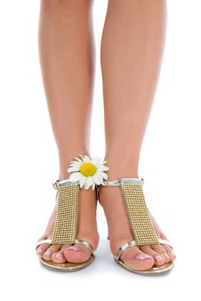 Free Long Legs On High Heels With Flowers Royalty Free Stock Images - 5793409