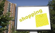 Free Blank Billboard In City With Shopping Bag Stock Images - 5793704