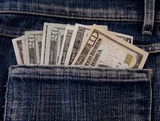 Dollars In Pocket Royalty Free Stock Photography