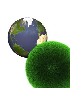 Sphere Of Grass With Earth Royalty Free Stock Image