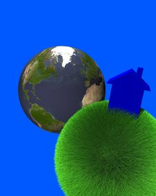 Blue House On Sphere Of Grass With Earth Royalty Free Stock Photography