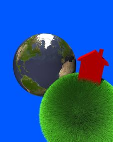 Free Red House On Sphere Of Grass With Earth Royalty Free Stock Photos - 5795378