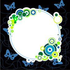 Blue Butterflies And Circles Royalty Free Stock Photography