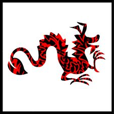 Free Black Red Dragon In Black Frame Royalty Free Stock Photography - 5795977