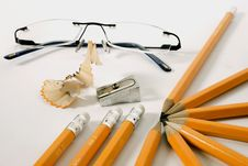 Glasses And Pencils Stock Images