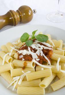 Rigatoni With Tomato Sauce Stock Photos