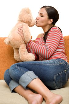 Free Woman With Teddybear Royalty Free Stock Images - 5798589
