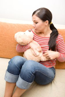 Free Woman With Teddybear Stock Photography - 5798622