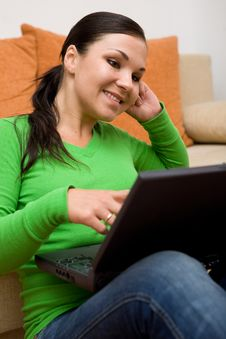 Free Woman With Laptop Stock Images - 5798704