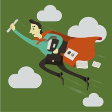 A Businessman Flying Ahead. Stock Photography
