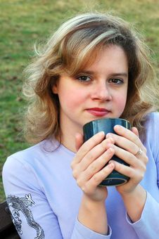 Free Girl With Mug Royalty Free Stock Image - 583016