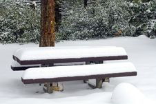 Free Picnic Table In Winter Stock Photos - 583183
