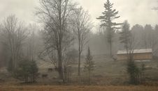 Misty Morning Farmland Stock Image