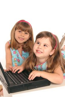 Free Girls Study With Computer Laptop Royalty Free Stock Image - 585036