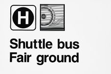 Sign Shuttle Bus To Fairground Royalty Free Stock Image