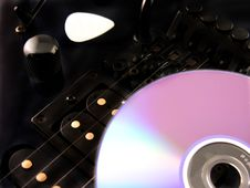 Electric Guitar CD And Pick Stock Photo