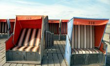 Free Beach-chairs On A Wooden Platform Stock Photos - 589853