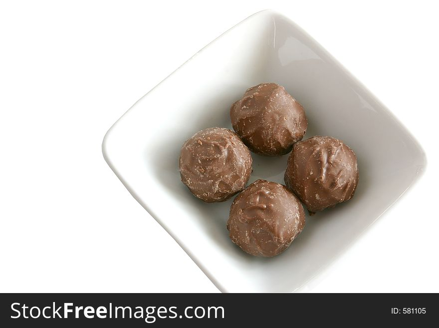 Chocolate candy in a dish