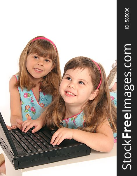 Girls study with computer laptop