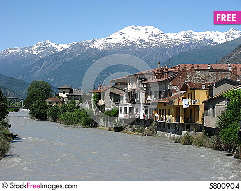 Free Italian Alpine River Village Stock Images - 5800904
