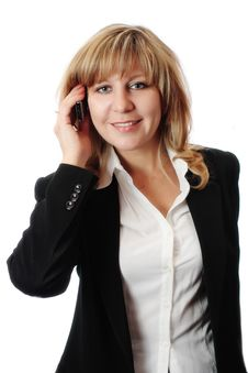 Free Successful Smiling Woman Talking On Mobile Phone Royalty Free Stock Photo - 5800615