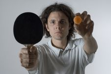 Free Man Holding A Ball And Paddle - Horizontal Royalty Free Stock Photos - 5800758