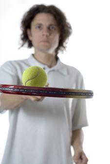 Man Balancing A Tennis Ball - Vertical Royalty Free Stock Images