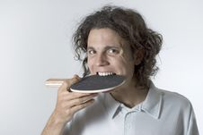Free Man With Table Tennis Racket In Mouth - Horizontal Royalty Free Stock Images - 5801099