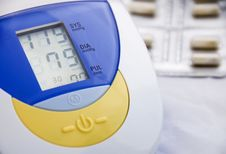 Electronic Blood Pressure Monitor Stock Photo