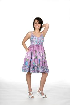 Free Pretty Teen In Purple And Blue Dress Royalty Free Stock Photography - 5804877