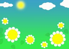 Free Daisies And Clouds Royalty Free Stock Image - 5805486