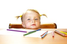 Free Girl And Pencils Stock Image - 5805801