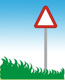 Road Sign And Grass Stock Image