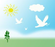 Illustration With Doves Stock Photo