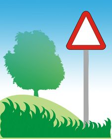 Free Road Sign, Tree And Grass Royalty Free Stock Image - 5806586