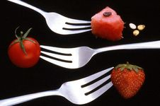 Free Forks And Red Food Stock Photography - 5806702