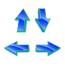 Set Of 4 Vector Blue Glossy Arrows Stock Images