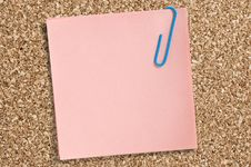 Pink Paper Note With Clip Royalty Free Stock Photo