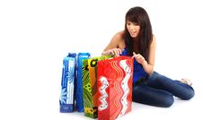Free Happy Shopping Girl On Floor Royalty Free Stock Photos - 5808708