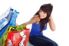 Free Happy Shopping Girl Royalty Free Stock Photos - 5808728