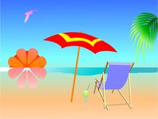 Free Summer Beach Scene Royalty Free Stock Photos - 5808838