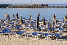 Free Hammocks Near The Seaside In Blue Stock Images - 5809464