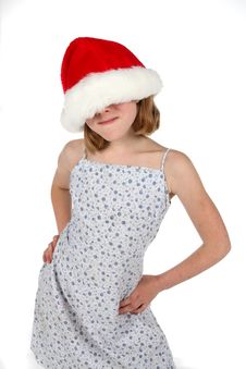 Cute Girl In Santa Hat Stock Image