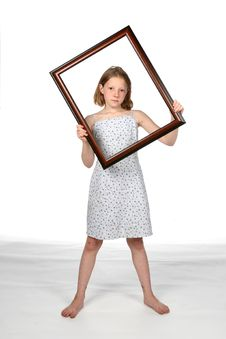 Free Girl In Dress With Frame Around Her Face Stock Images - 5809974