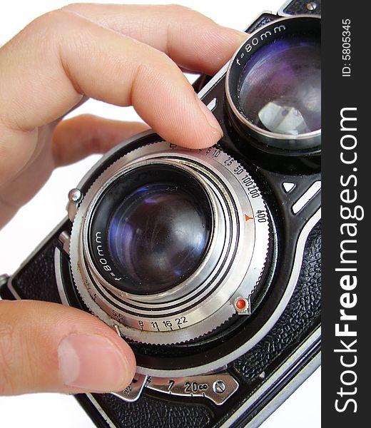 Vintage camera focusing