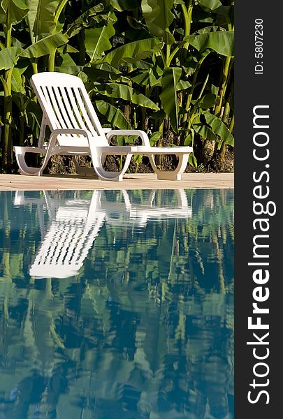 Sunlounger by the swimming pool