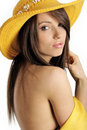 Free Sexy Girl In Yellow Hat And Bikini Stock Photography - 5812682