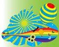 Free Hot Air Balloon And Rainbow Stock Photo - 5819310