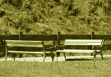 Two Benches In Selva Gardena Stock Image